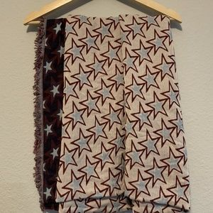 Sandro France Stars Multicolor Cotton Blend Scarf
